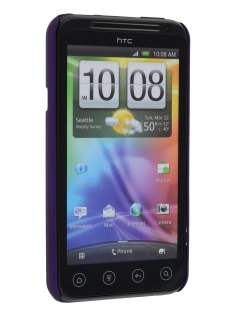 Rubberised Colour Case plus Screen Protector for HTC EVO 3D - Grape Purple
