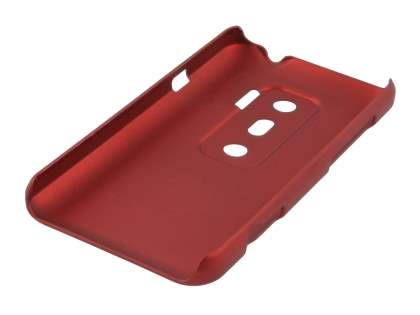 Rubberised Colour Case plus Screen Protector for HTC EVO 3D - Burgundy Red