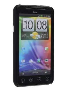Rubberised Colour Case plus Screen Protector for HTC EVO 3D - Classic Black
