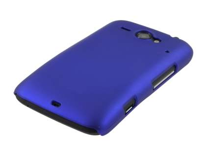 Rubberised Colour Case plus Screen Protector for HTC ChaCha - Navy Blue