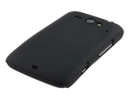 Rubberised Colour Case plus Screen Protector for HTC ChaCha - Classic Black