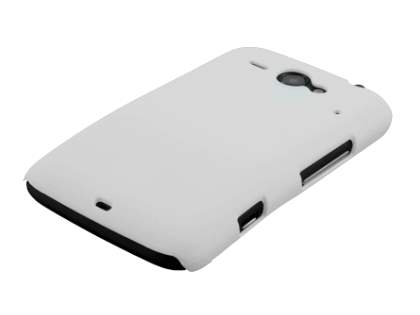Rubberised Colour Case plus Screen Protector for HTC ChaCha - Pearl White
