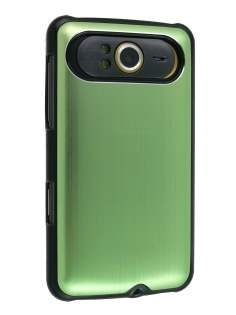 Brushed Aluminium Case for HTC HD7 - Lime Green Hard Case