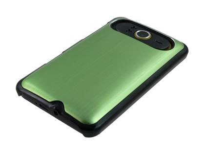 Brushed Aluminium Case for HTC HD7 - Lime Green