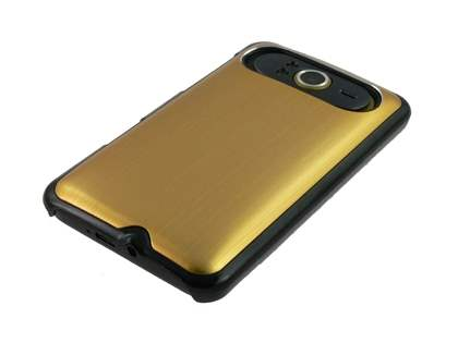 Brushed Aluminium Case plus Screen Protector for HTC HD7 - Gold