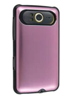 Brushed Aluminium Case for HTC HD7 - Baby Pink Hard Case