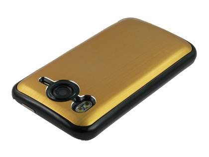 Brushed Aluminium Case plus Screen Protector for HTC Desire HD - Gold