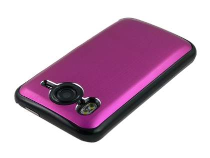 Brushed Aluminium Case plus Screen Protector for HTC Desire HD - Hot Pink