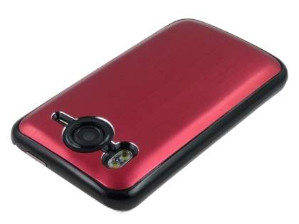 Brushed Aluminium Case for HTC Desire HD - Burgundy Red