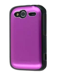 HTC Wildfire S Brushed Aluminium Case - Hot Pink Hard Case