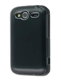 HTC Wildfire S Brushed Aluminium Case - Night Black Hard Case