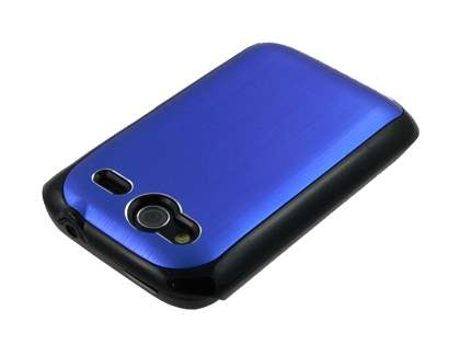 HTC Wildfire S Brushed Aluminium Case plus Screen Protector - Ocean Blue