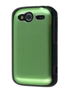 HTC Wildfire S Brushed Aluminium Case - Lime Green Hard Case