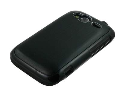 HTC Wildfire S Brushed Aluminium Case plus Screen Protector - Night Black