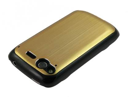 HTC Wildfire S Brushed Aluminium Case plus Screen Protector - Gold