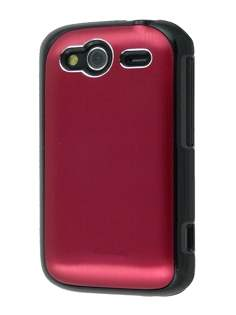 HTC Wildfire S Brushed Aluminium Case - Burgundy Red Hard Case