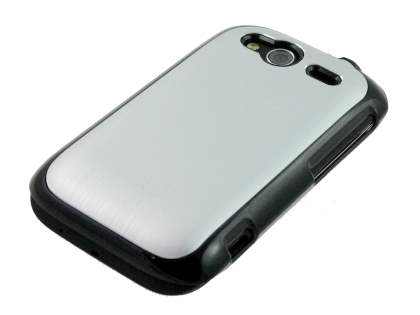 HTC Wildfire S Brushed Aluminium Case plus Screen Protector - Silver