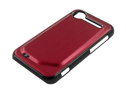 HTC Incredible S Brushed Aluminium Case plus Screen Protector - Burgundy Red