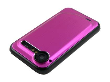 HTC Incredible S Brushed Aluminium Case plus Screen Protector - Hot Pink