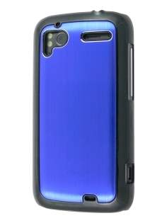 Brushed Aluminium Case for HTC Sensation - Ocean Blue Hard Case