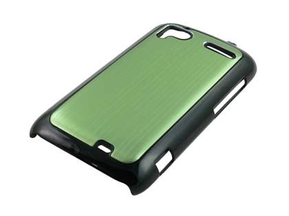 Brushed Aluminium Case plus Screen Protector for HTC Sensation - Lime Green