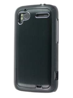Brushed Aluminium Case for HTC Sensation - Night Black Hard Case