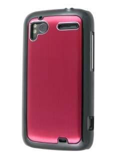 Brushed Aluminium Case for HTC Sensation - Burgundy Red Hard Case
