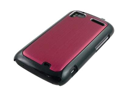 Brushed Aluminium Case plus Screen Protector for HTC Sensation - Burgundy Red