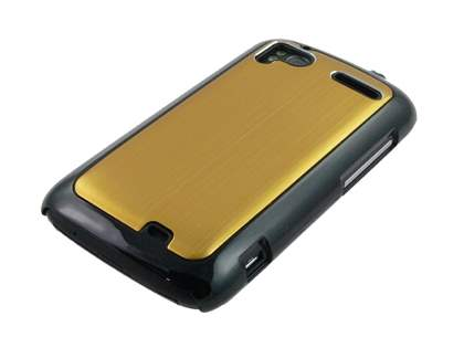 Brushed Aluminium Case plus Screen Protector for HTC Sensation - Gold