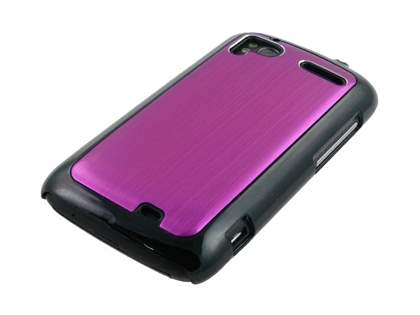 Brushed Aluminium Case plus Screen Protector for HTC Sensation - Hot Pink
