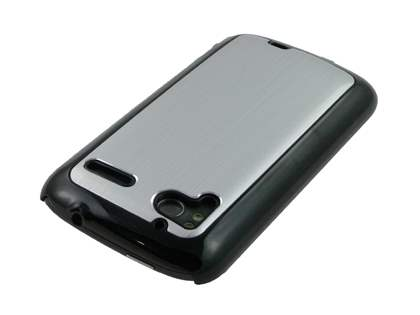 Brushed Aluminium Case plus Screen Protector for HTC Sensation - Silver