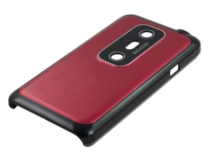 HTC EVO 3D Brushed Aluminium Case plus Screen Protector - Burgundy Red