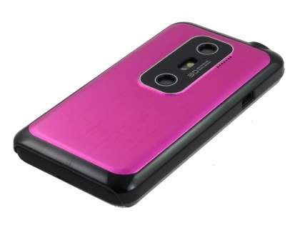 HTC EVO 3D Brushed Aluminium Case plus Screen Protector - Hot Pink