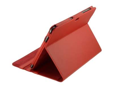 Samsung Galaxy Tab 10.1  Synthetic Leather Flip Case with Dual-Angle Tilt Stand - Red