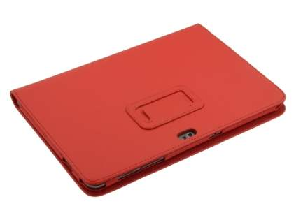 Samsung Galaxy Tab 10.1 Synthetic Leather Flip Case with Fold-Back Stand - Red