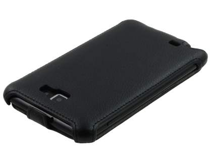 Samsung I9220 Galaxy Note Slim Synthetic Leather Flip Case - Classic Black