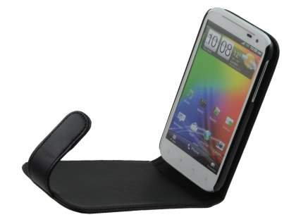 HTC Sensation XL Synthetic Leather Flip Case - Black