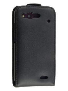HTC Rhyme Genuine Leather Flip Case - Black Leather Flip Case