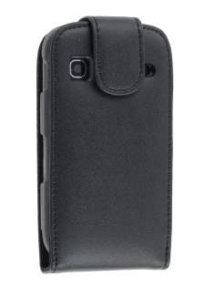 Samsung S5660 Galaxy Gio Genuine Leather Flip Case - Black Leather Flip Case