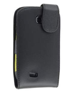 Samsung S5570 Galaxy Mini Genuine Leather Flip Case - Black