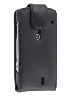 Genuine Leather Flip Case for Sony Ericsson XPERIA Neo - Classic Black Leather Flip Case