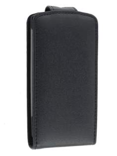 Genuine Leather Flip Case for Sony Ericsson XPERIA Neo - Classic Black