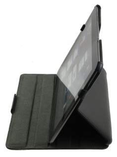 Premium Samsung Galaxy Tab 10.1 Slim Synthetic Leather Flip Case with Multi-Angle Tilt Stand - Black Leather Flip Case