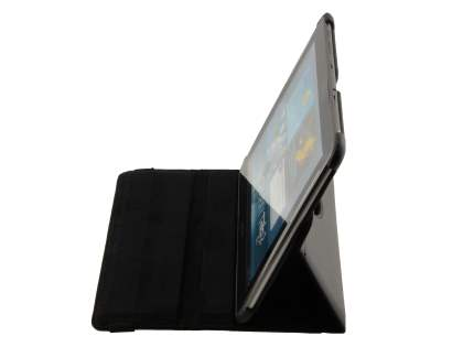 Samsung Galaxy Tab 10.1 VELOCITY Synthetic Leather 360° Swivel Flip Case - Black