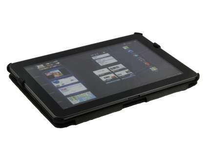 Premium Samsung Galaxy Tab 10.1 Slim Synthetic Leather Flip Case with Multi-Angle Tilt Stand - Black