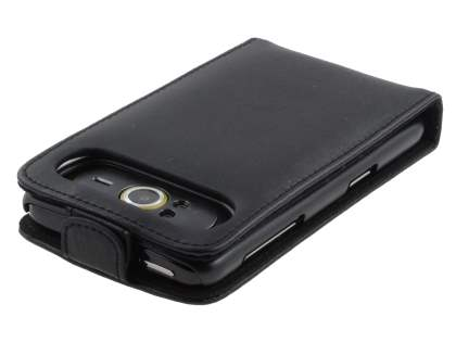 HTC HD7 Genuine Leather Flip Case - Black