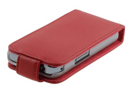 Samsung S5830 Galaxy Ace Genuine Leather Flip Case - Red
