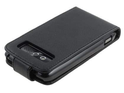 Slim Synthetic Leather Flip Case for HTC 7 Trophy - Black