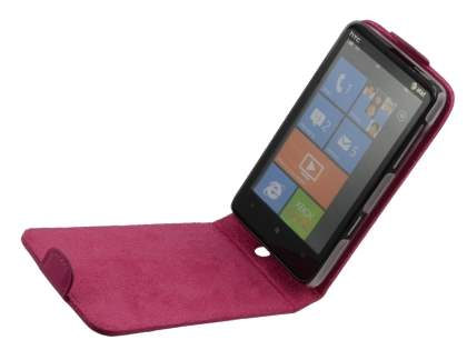 HTC HD7 Genuine Leather Flip Case - Pink