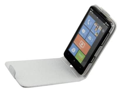 Genuine Leather Flip Case for HTC HD7 - White